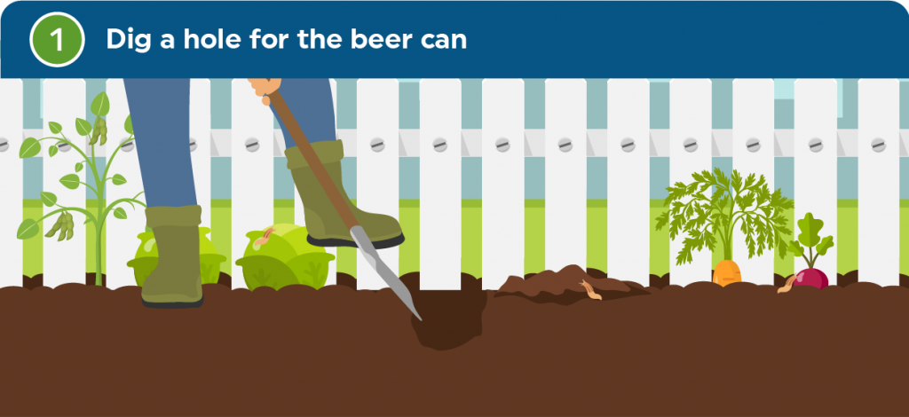 digging a hole for a beer can